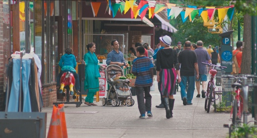 Thirty-seventh Avenue, Jackson Heights, Queens; from Frederick Wiseman's documentary film <i>In Jackson Heights</i>